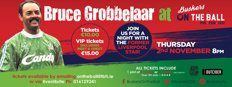 An evening with bruce grobbelaar book your tickets today join us at buskers on the ball for a night with the former liverpool legend bruce grobbelaar tickets 10 or 15 to include a meet greet with the m4hsunfo
